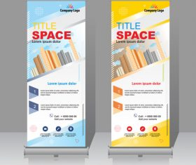 Scrolls vertical banners company vector 01