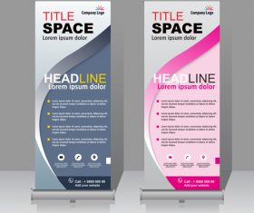 Scrolls vertical banners company vector 02