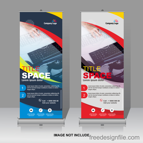 Scrolls vertical banners company vector 04