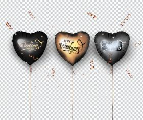 Set of heart shaped air balloons and confetti vector illustration