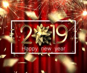 Shining golden 2019 new year design vector