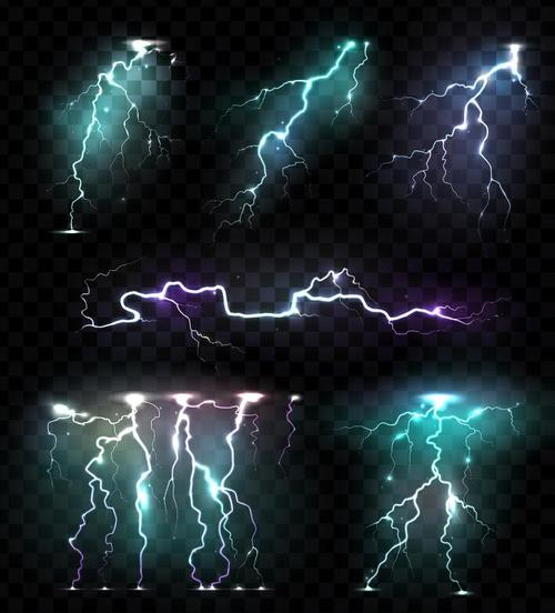 Shining lightning illustration vectors set 01