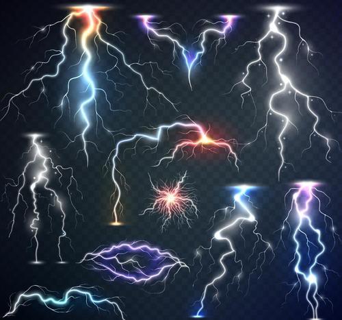 Shining lightning illustration vectors set 02