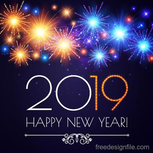 Shiny firwork with 2019 new year background vector
