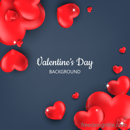 Shiny heart shape with valentines day vectors 02