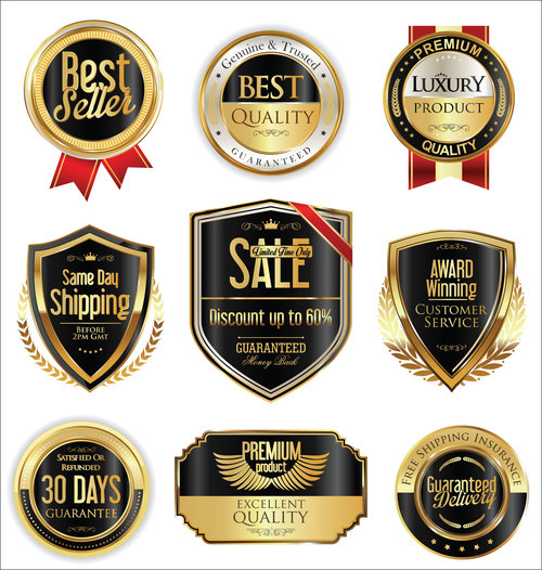 Shipping and luxury golden labels vector 1
