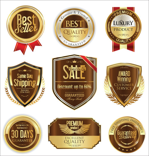 Shipping and luxury golden labels vector 2