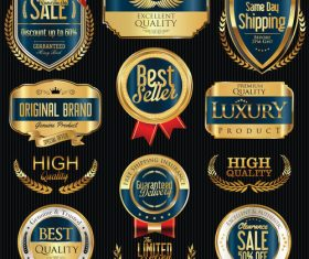 Shipping and luxury golden labels vector 3