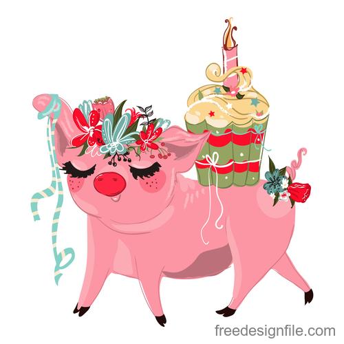 Sketch cute pig vector illustration 01