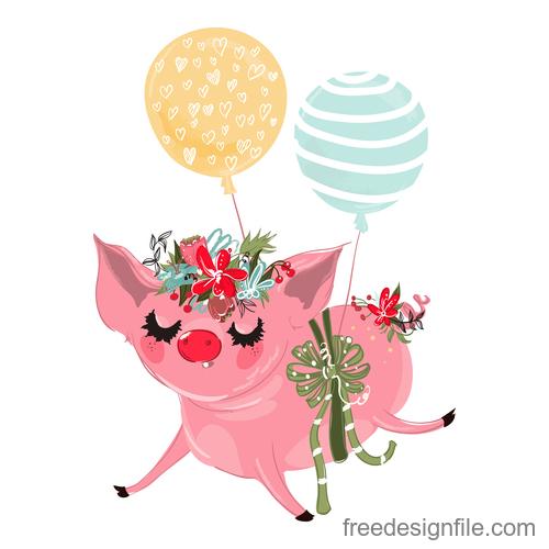 Sketch cute pig vector illustration 02