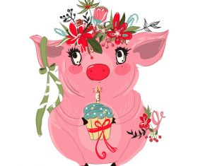 Sketch cute pig vector illustration 03