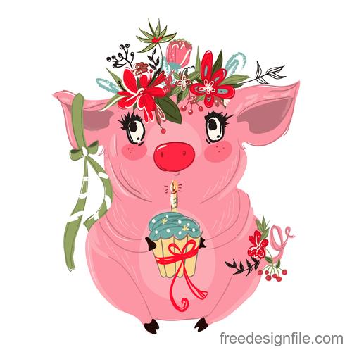 Sketch cute pig vector illustration 03