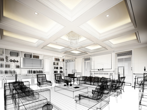 Sketch design of living 3dwire frame render Stock Photo 01