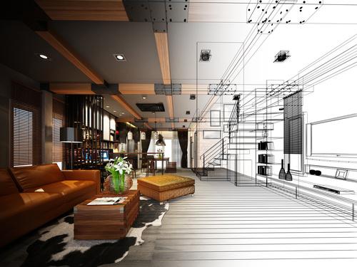 Sketch design of living 3dwire frame render Stock Photo 04