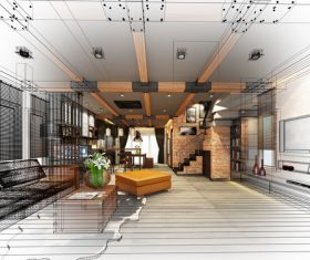 Sketch design of living 3dwire frame render Stock Photo 06