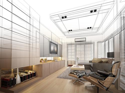 Sketch design of living 3dwire frame render Stock Photo 08