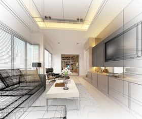 Sketch design of living 3dwire frame render Stock Photo 11