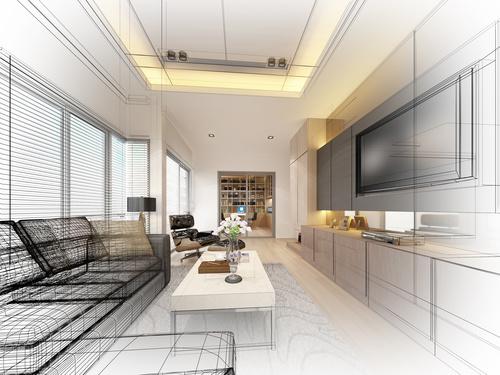 Sketch design of living 3dwire frame render Stock Photo 11