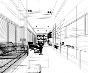 Sketch design of living 3dwire frame render Stock Photo 12
