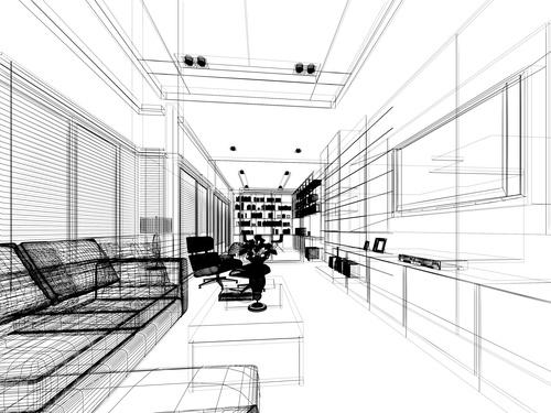 Sketch design of living 3dwire frame render Stock Photo 12