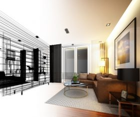 Sketch design of living 3dwire frame render Stock Photo 13