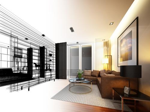 Sketch design of living 3dwire frame render Stock Photo 13