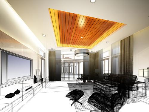 Sketch design of living 3dwire frame render Stock Photo 14