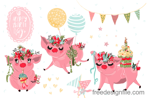 Sketch pigs birthday vector set