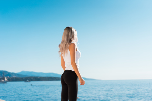 Slim Fit Healthy Young Girl Stock Photo