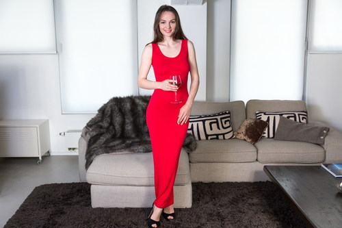 Slim red dress dress beauty Stock Photo