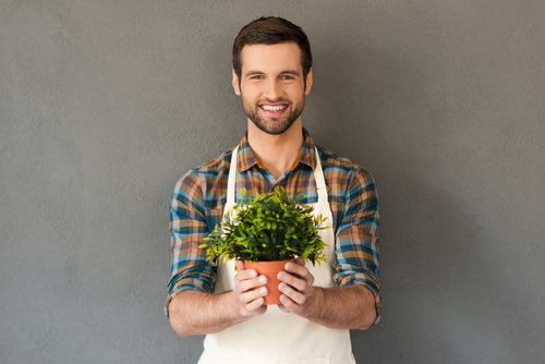 Smiling man holding a pot of plants Stock Photo