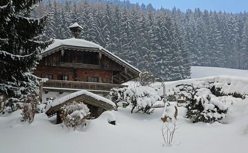 Snow Mountain Villa Scenery Stock Photo