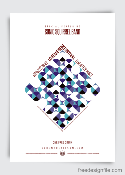 Sonic squirrel band music festival brochure vector