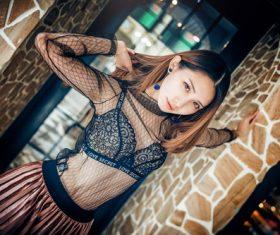 Stock Photo Girl wearing a beautiful black blouse