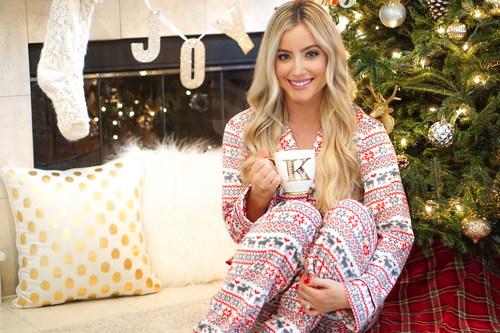 Stock Photo Girl wearing pajamas drinking coffee