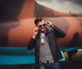 Stock Photo Handsome model wearing a leather jacket