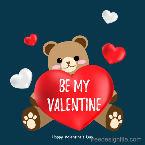 Teddy bear with red heart and valentines day background vector
