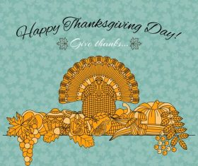 Thanksgiving Day golden elements vectors 01