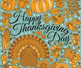 Thanksgiving Day golden elements vectors 02