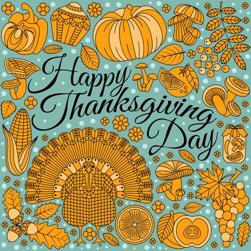 Thanksgiving Day golden elements vectors 02