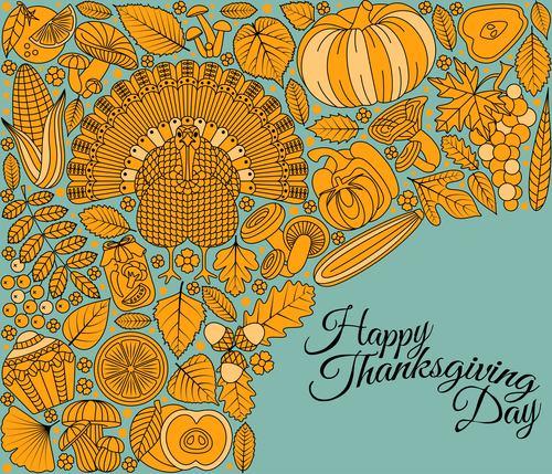 Thanksgiving Day golden elements vectors 03