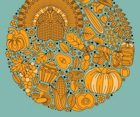Thanksgiving Day golden elements vectors 04