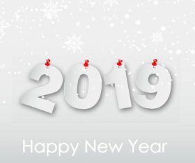 Thumbtack with paper 2019 new year design vector