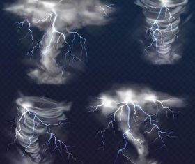 Tornado with lightning illustration vector 02