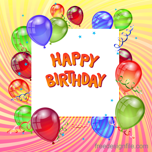 Transparent colored balloons with birthday design vector