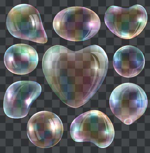 Transparent rainbow bubble heart shape vector 02