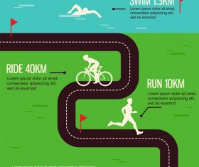 Triathlon poster template vector
