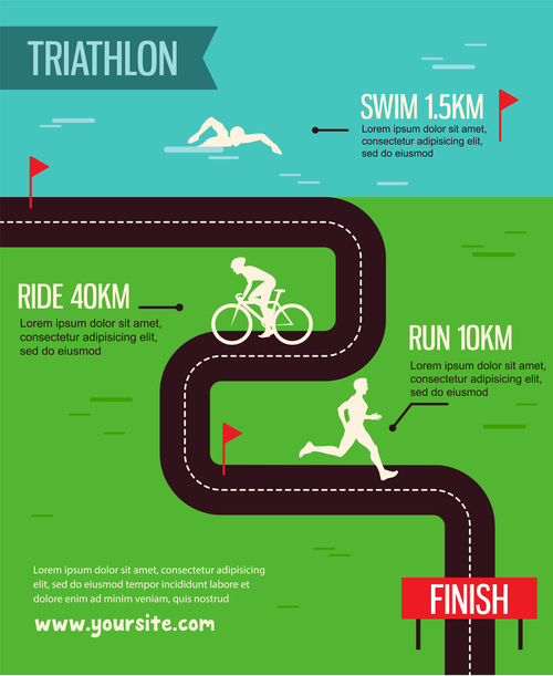 Triathlon poster template vector