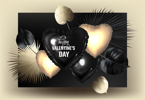 Tropical leaves and inflatable hearts Gold and black vector
