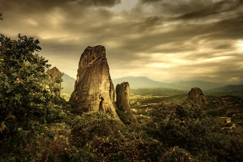 Under dark clouds mountain scenery Stock Photo